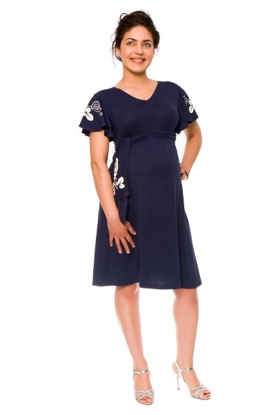 Elegantní těhotenské šaty Alexie, se stuhou a výšivkou