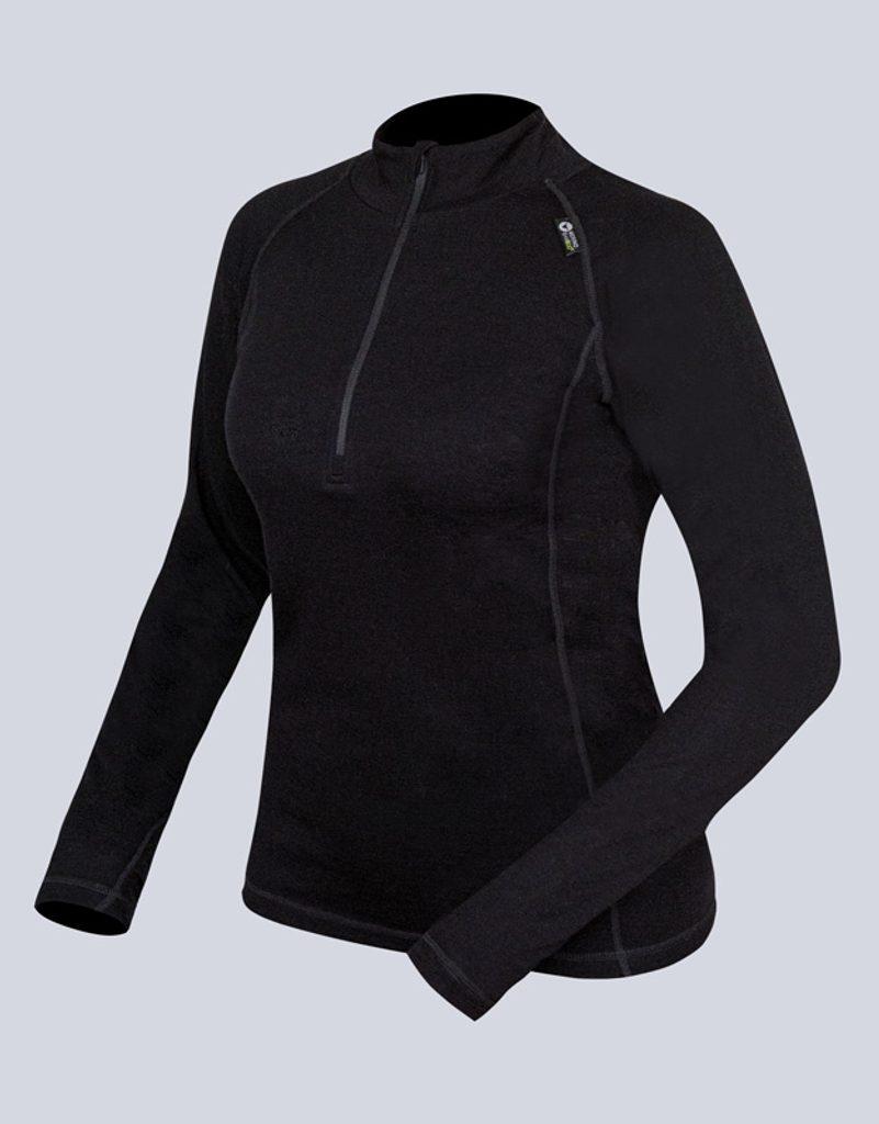 GINA dámské triko se zipem s dlouhým rukávem dámské, dlouhý rukáv, šité, jednobarevné Merino 88015P - černá