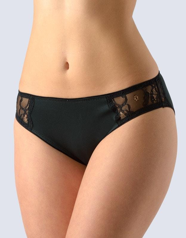 GINA dámské kalhotky klasické s úzkým bokem, šité, s krajkou La Femme 2 10202P - černá