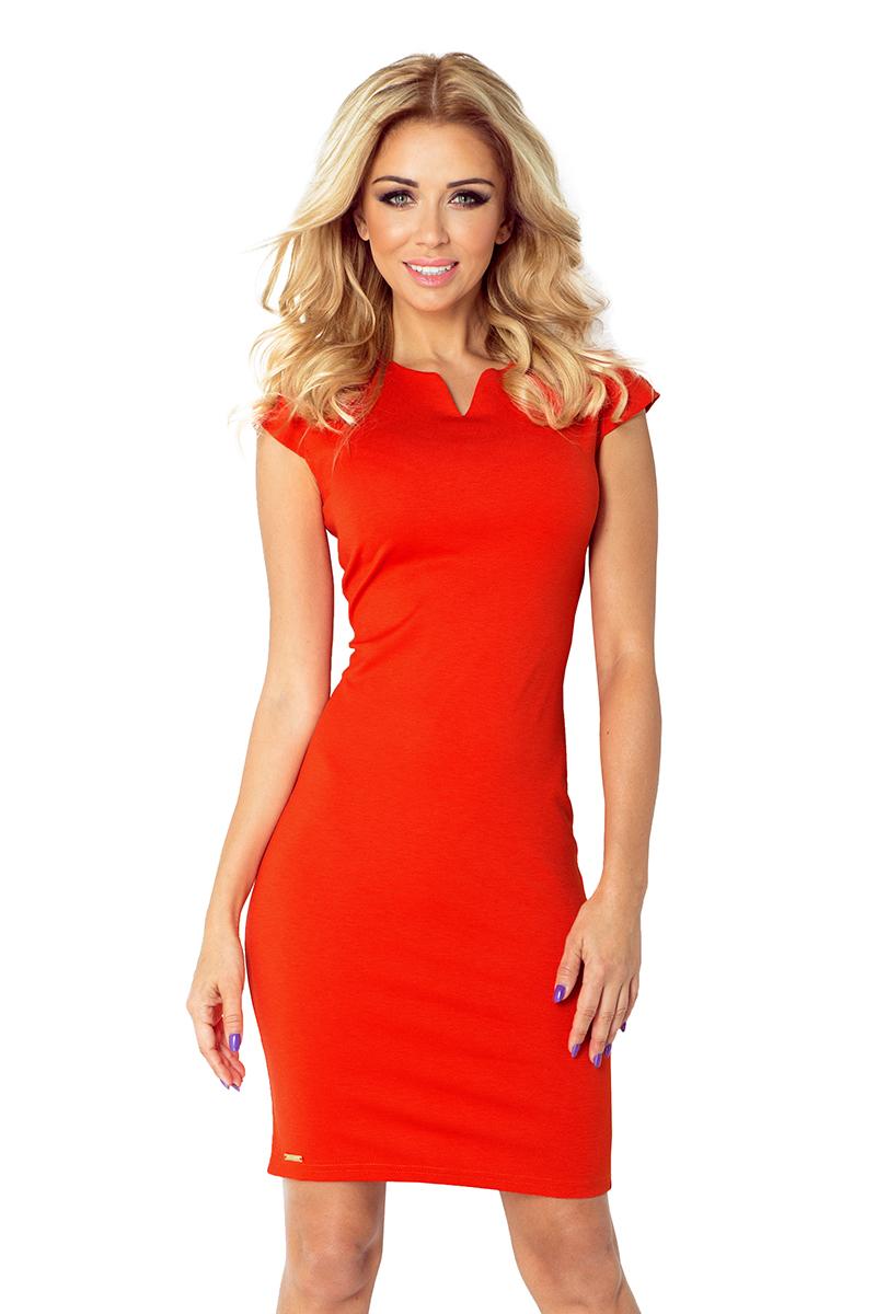 Oranžové šaty s výkrojem ve výstřihu 132-4 empty 23cda427be