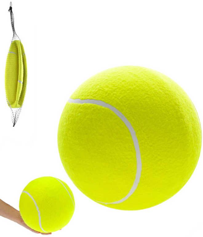 Míček tenisový mega 24cm velký míč v síťce žlutý