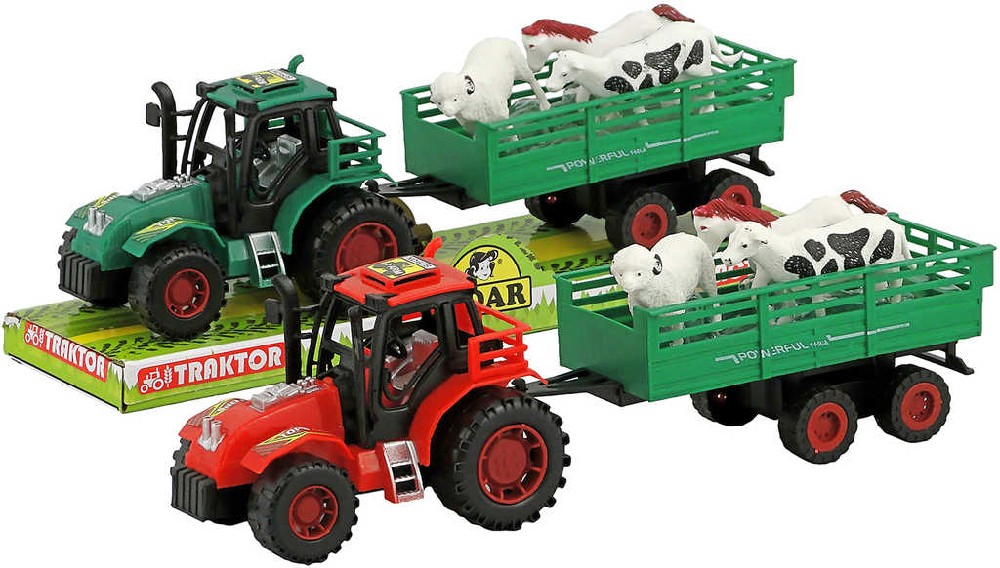 Traktor na setrvačník 32cm set s vlečkou a 3 zvířaty plast 2 barvy