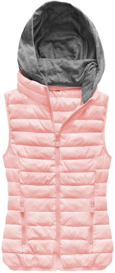 Prošívaná vesta v lososové barvě s kapucí (B1003)