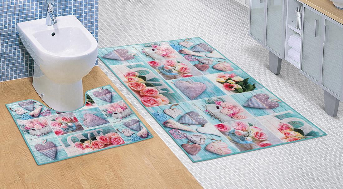 Koupelnová sada předložek 3D 60x100+60x50cm Patchwork tyrkysový
