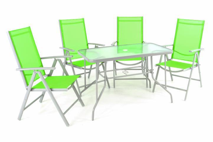 Zahradní skládací set stůl + 4 stohovatelné židle - zelená