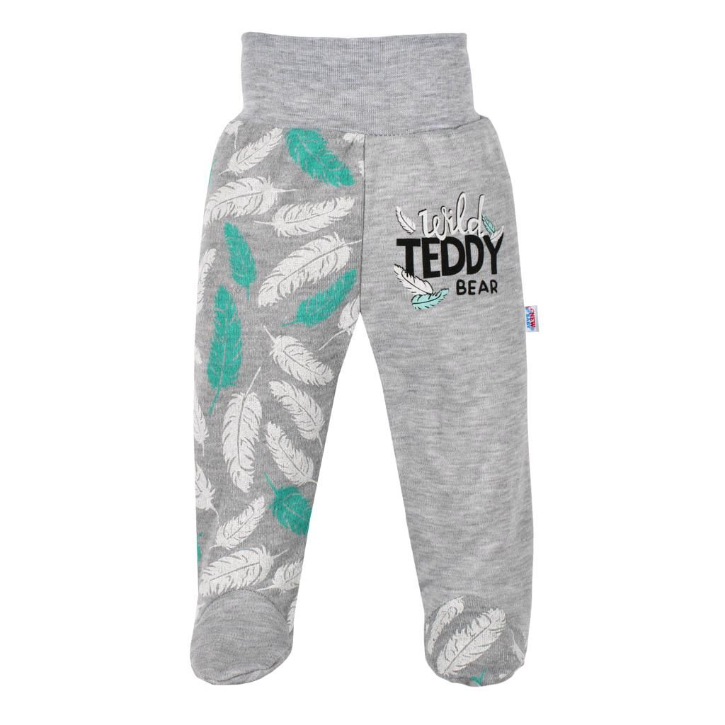 Kojenecké bavlněné polodupačky New Baby Wild Teddy - šedá/62 (3-6m)