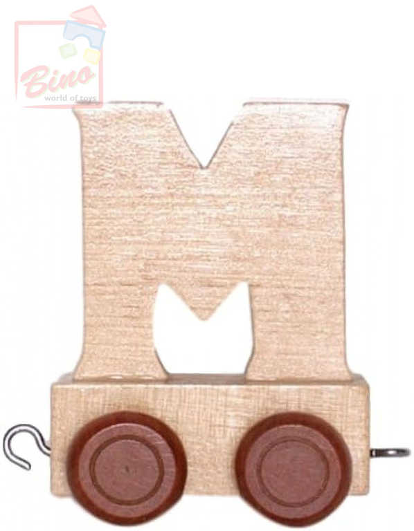 BINO DŘEVO Vagónek písmeno M doplněk k vláčku s abecedou
