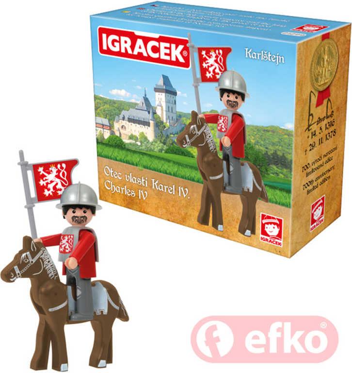 EFKO IGRÁČEK Karel IV. Karlštejn set s koněm a doplňky v krabičce STAVEBNICE
