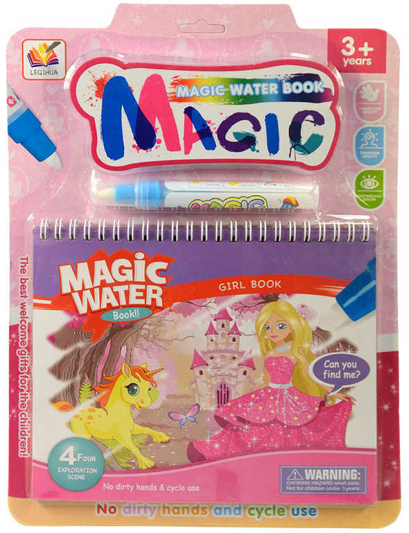 Kouzelné malování vodou Princezny set bloček s kouzelným fixem pro holky