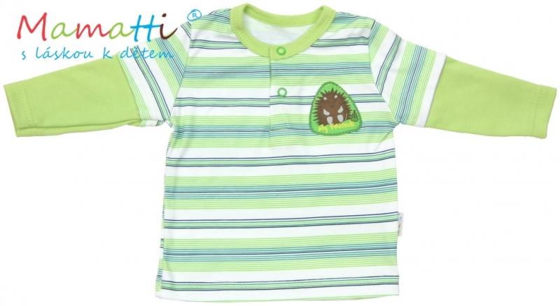 Polo tričko dlouhý rukáv Mamatti - FROG - zelené/proužky - 98 (24-36m)