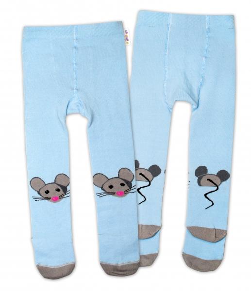 Baby Nellys Bavlněné punčocháče - Myška modrá, vel.