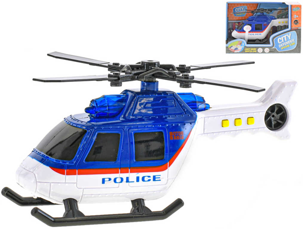 Vrtulník policie 18cm na baterie Světlo Zvuk plast v krabičce