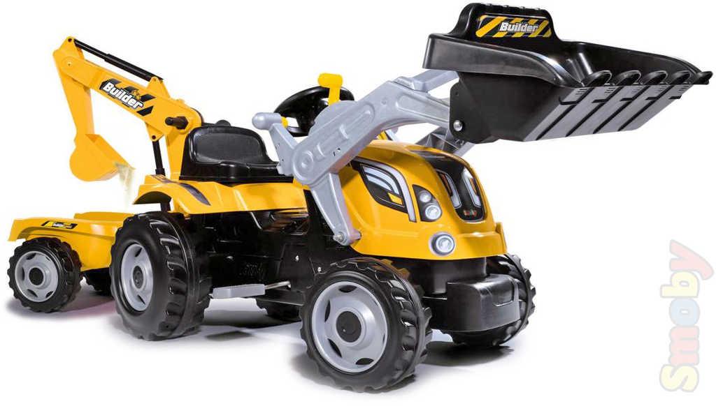 SMOBY Traktor dětský šlapací Builder Max s bagrem 2 lžíce žlutý s klaksonem plast