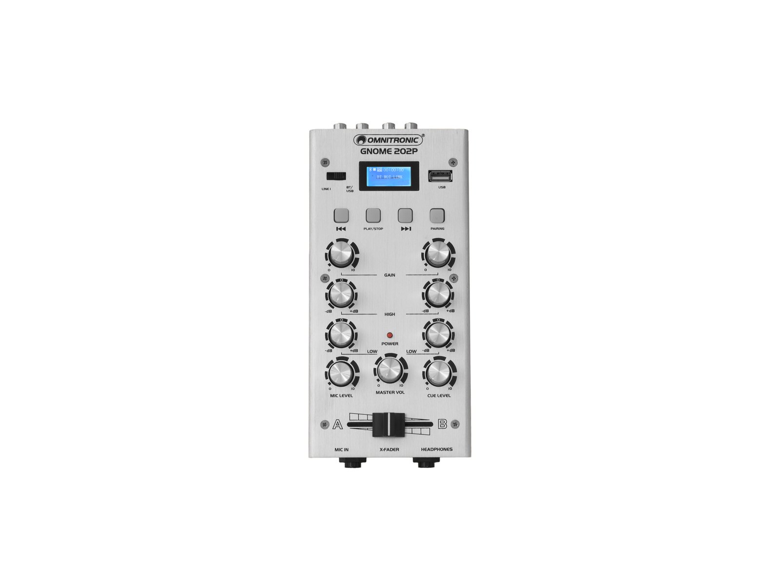 OMNITRONIC GNOME-202P, 2-kanálový, USB, MP3, Bluetooth, stříbrný