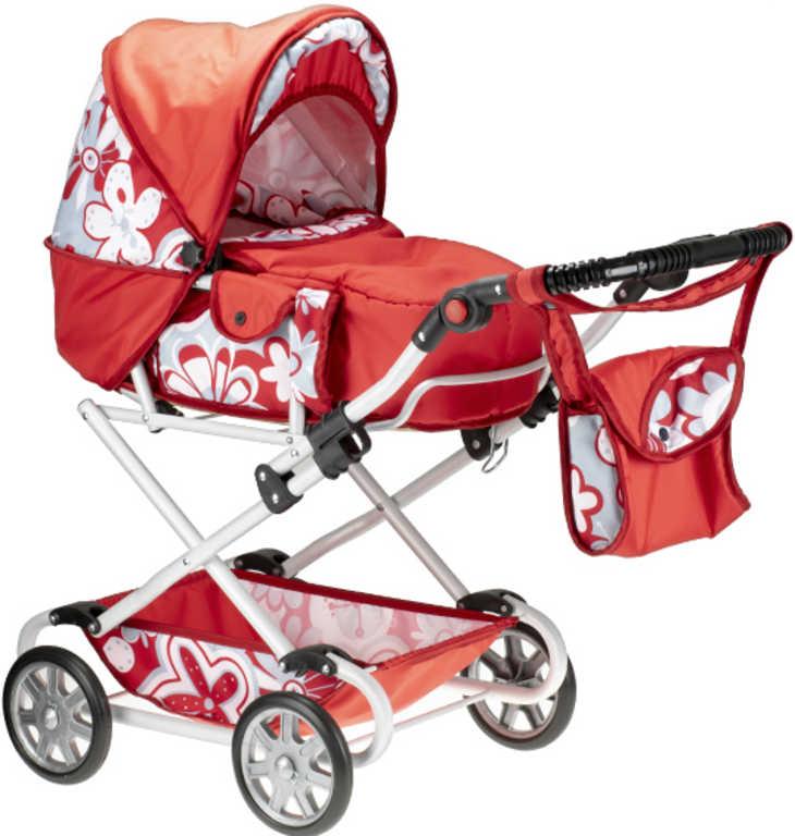 Kočárek Natalia červený WL2 s taškou na madle pro panenku miminko