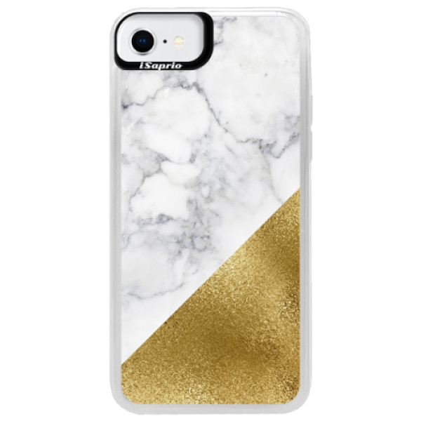 Neonové pouzdro Blue iSaprio - Gold and WH Marble - iPhone SE 2020