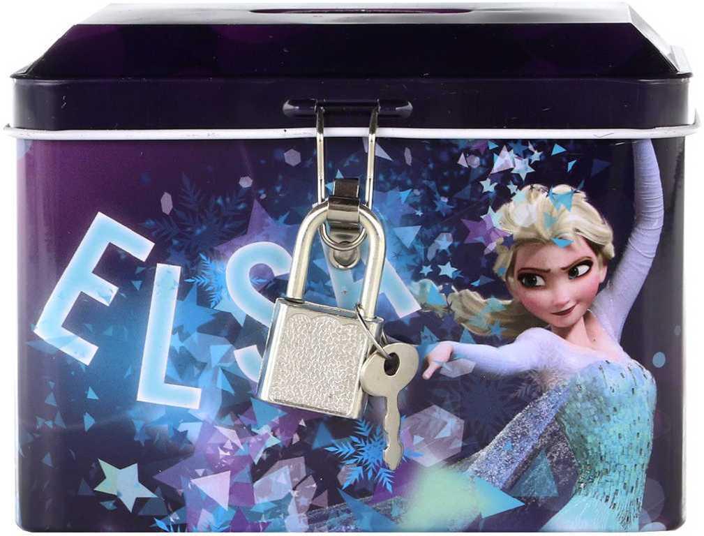 Pokladnička kovová Frozen (Ledové Království) na zámek set se 2 klíčky