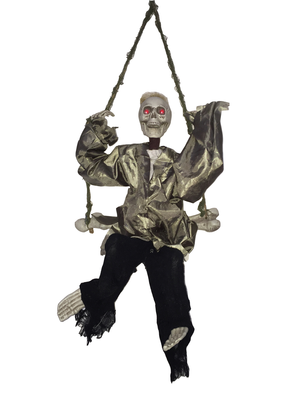 Halloween kostlivec na houpačce