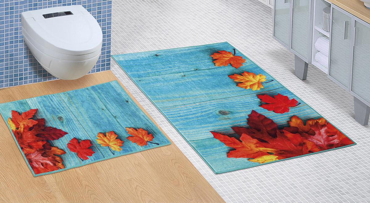 Koupelnová sada předložek 3D 60x100+60x50cm BEZ VÝKROJE javorové listy