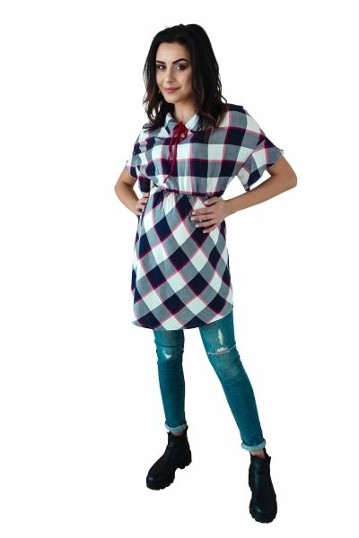 Košilová těhotenská tunika kr. rukáv