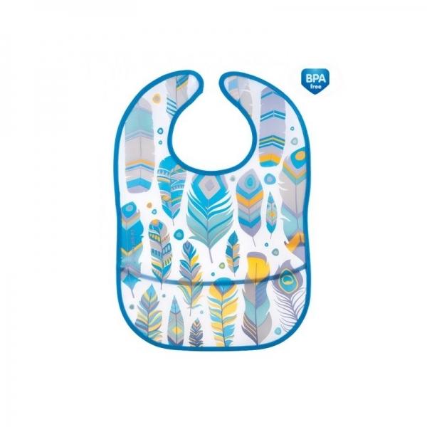 Plastový bryndák/zástěrka s kapsičkou Canpol Babies Wid Nature - tyrkysový