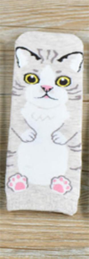 Veselé ponožky s kočičkou - béžové