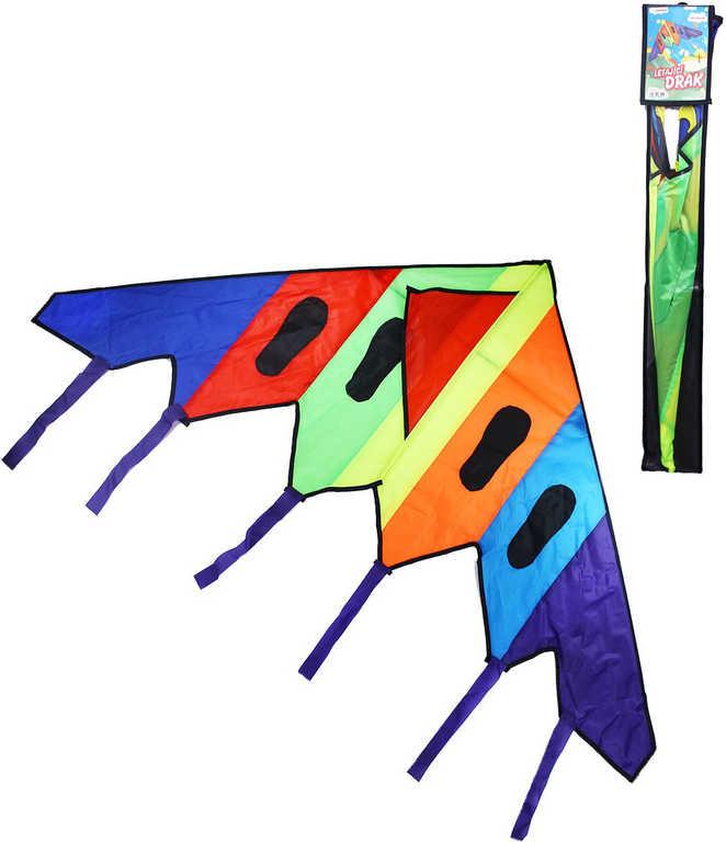 Drak dětský létající nylonový 150x73,5cm barevný s třásněmi