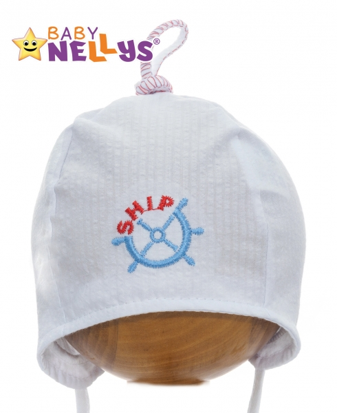 Letní čepička Baby Nellys - námořnická - bílá - 34/36 čepičky obvod