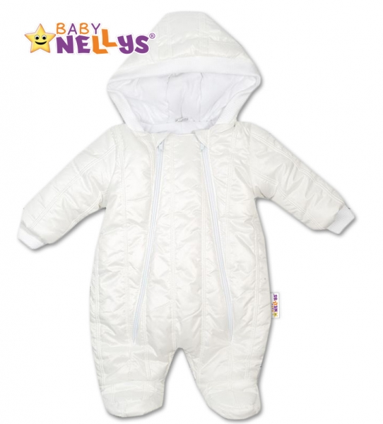 Kombinézka s kapuci LUX Baby Nellys ®prošívaná - bílá - 68 (4-6m)