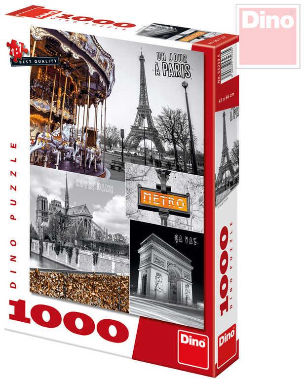 DINO Puzzle Paříž koláž 47x66cm set 1000 dílků v krabici