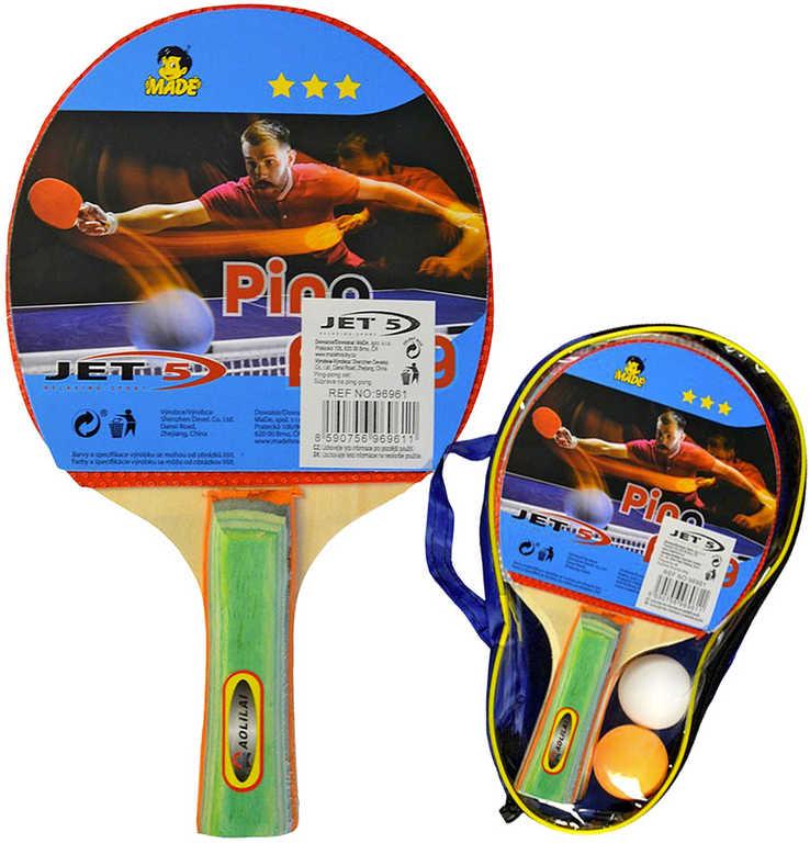 Pinpongový set pálka 2ks + míček 2ks s pouzdrem na stolní tenis
