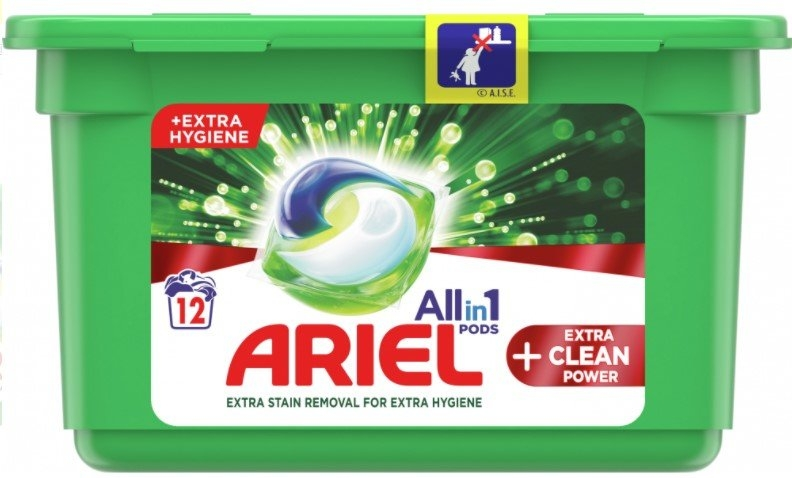 Ariel Extra Clean kapsle na praní, 12 praní