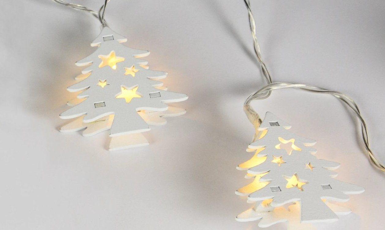 HOLZ Vánoční dekorativní řetěz - bílé stromky, 10 LED