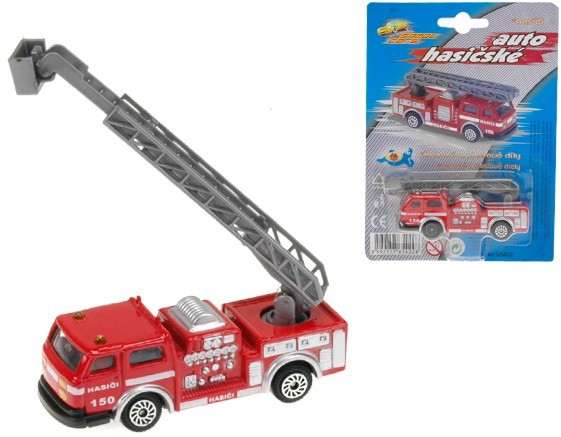 Auto požárníci 7 cm kovové na kartě HASIČI