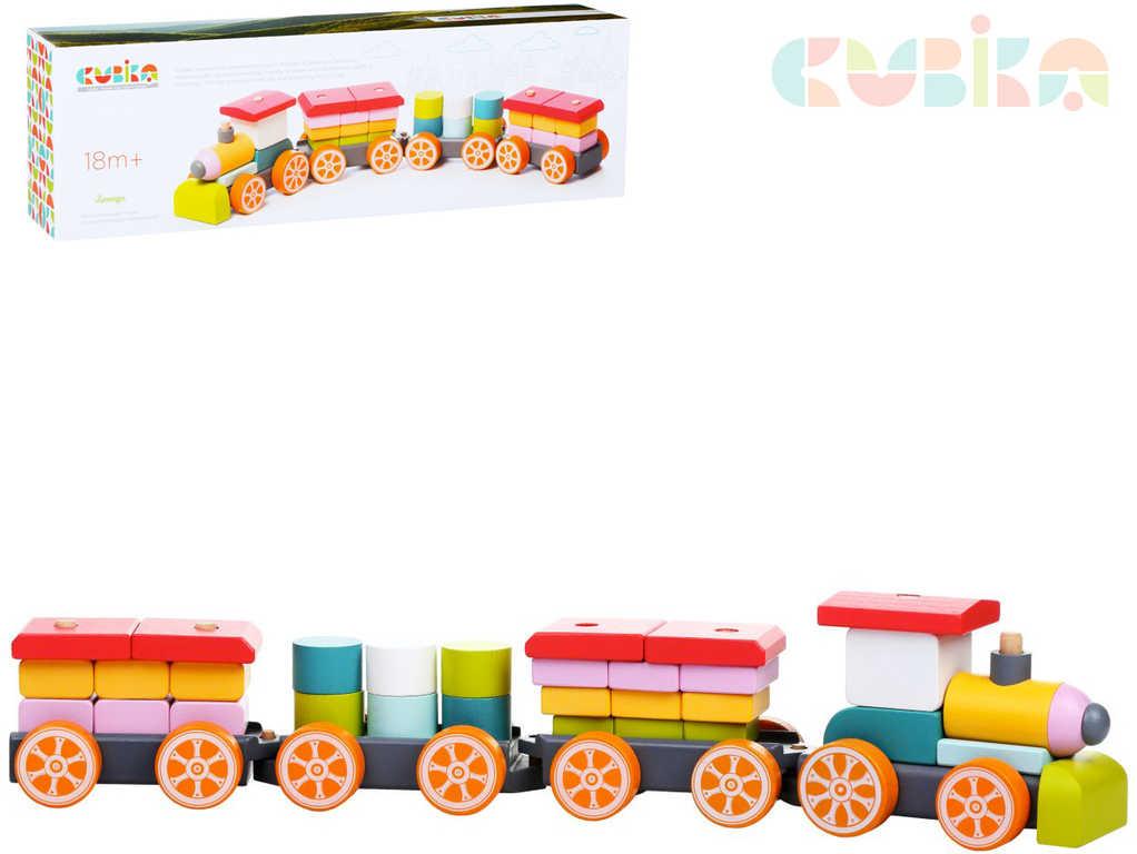 CUBIKA DŘEVO Baby vláček 3 vagóny navlékací stavebnice 35 dílků pro miminko
