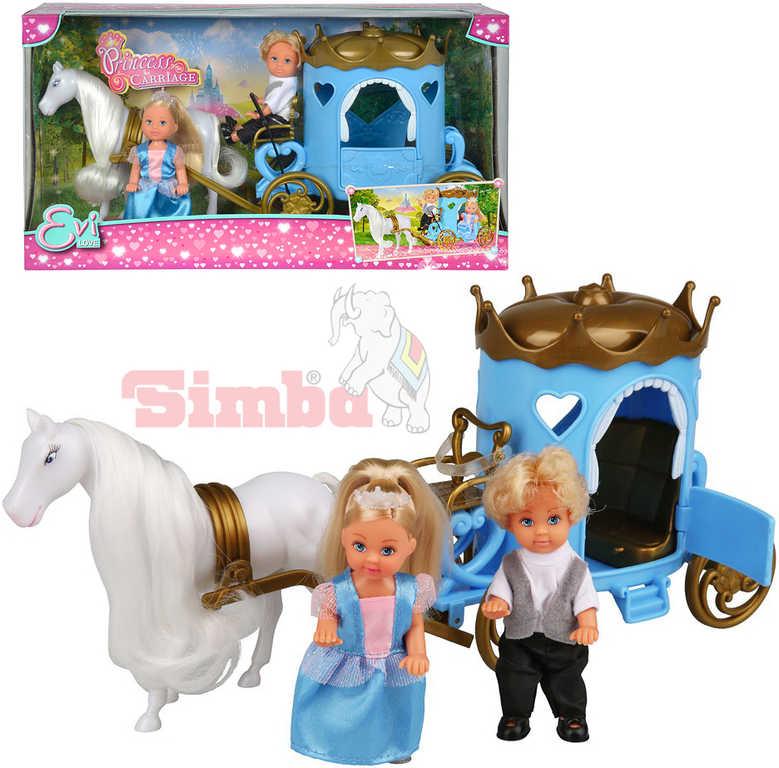 SIMBA Panenka Evička princezna a panák Timmy 12cm set s kočárem a doplňky