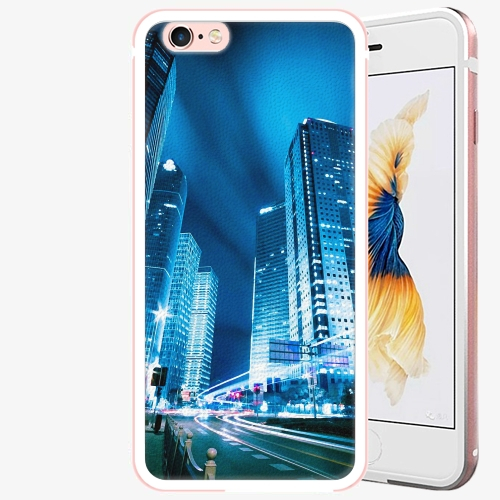 Plastový kryt iSaprio - Night City Blue - iPhone 6 Plus/6S Plus - Rose Gold