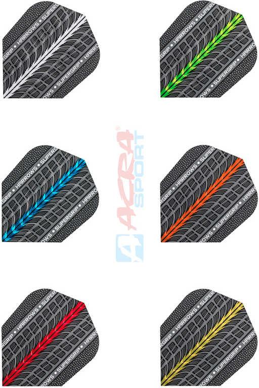 ACRA Letky náhradní HARROWS Supergrip na šipky set 3ks různé barvy