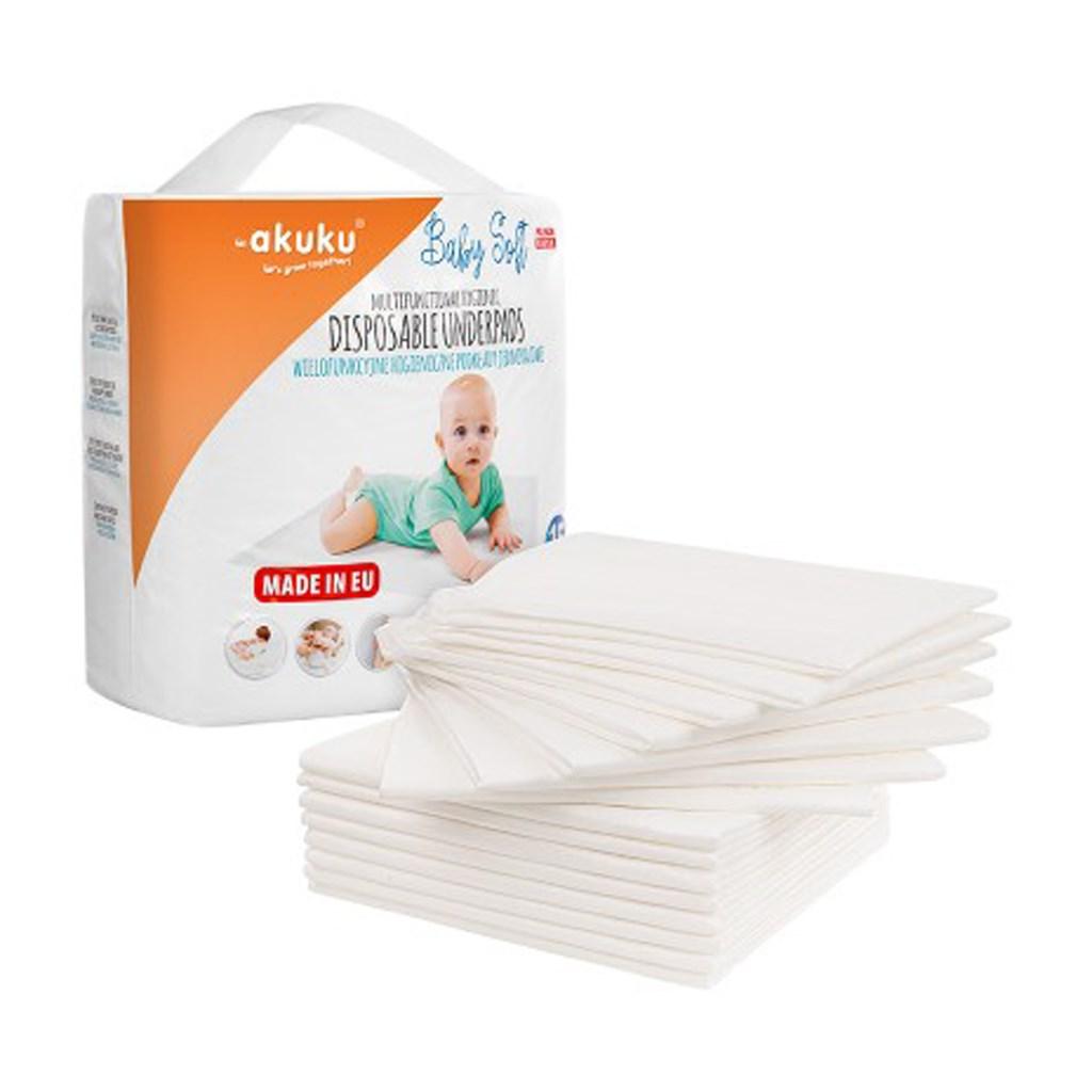 Jednorázové hygienické podložky Akuku Baby Soft 40x60cm 15ks - bílá