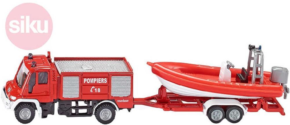 SIKU Auto hasiči Unimog s přívěsem s člunem 1:87 kovové 1636