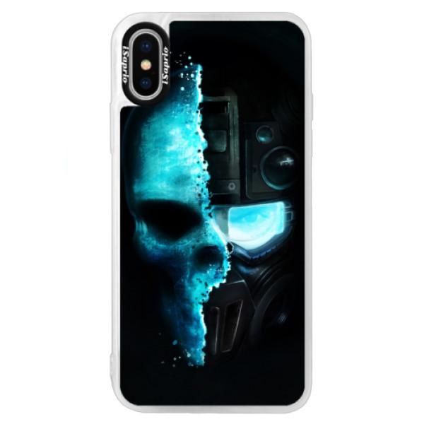 Neonové pouzdro Blue iSaprio - Roboskull - iPhone X