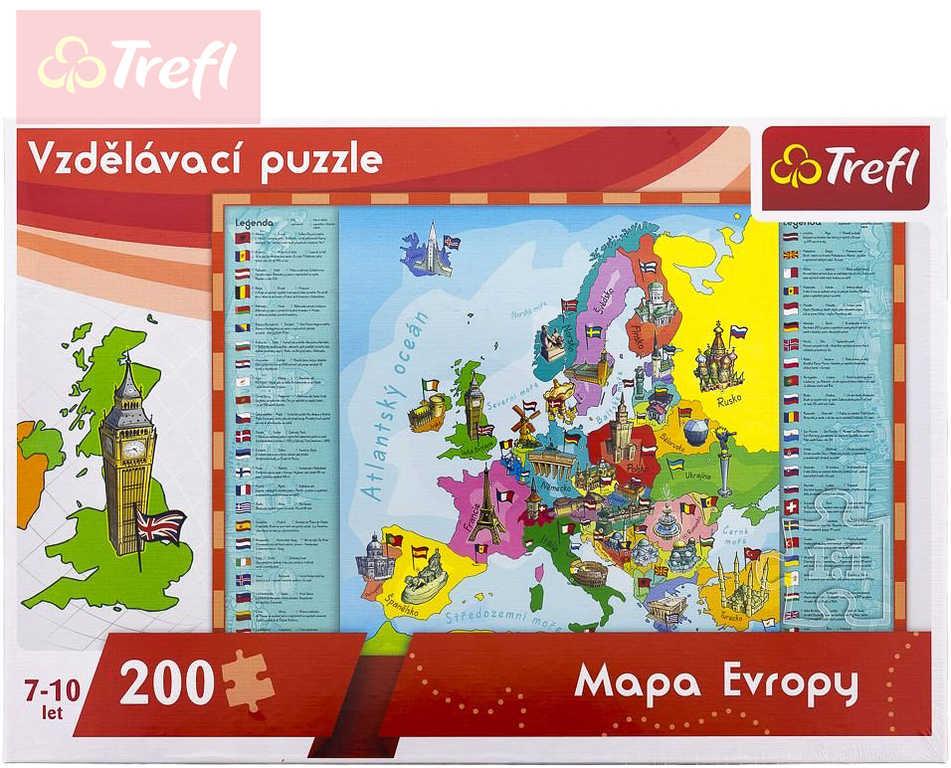 TREFL PUZZLE Vzdělávací Mapa Evropy 200 dílků skládačka 60x40cm v krabici