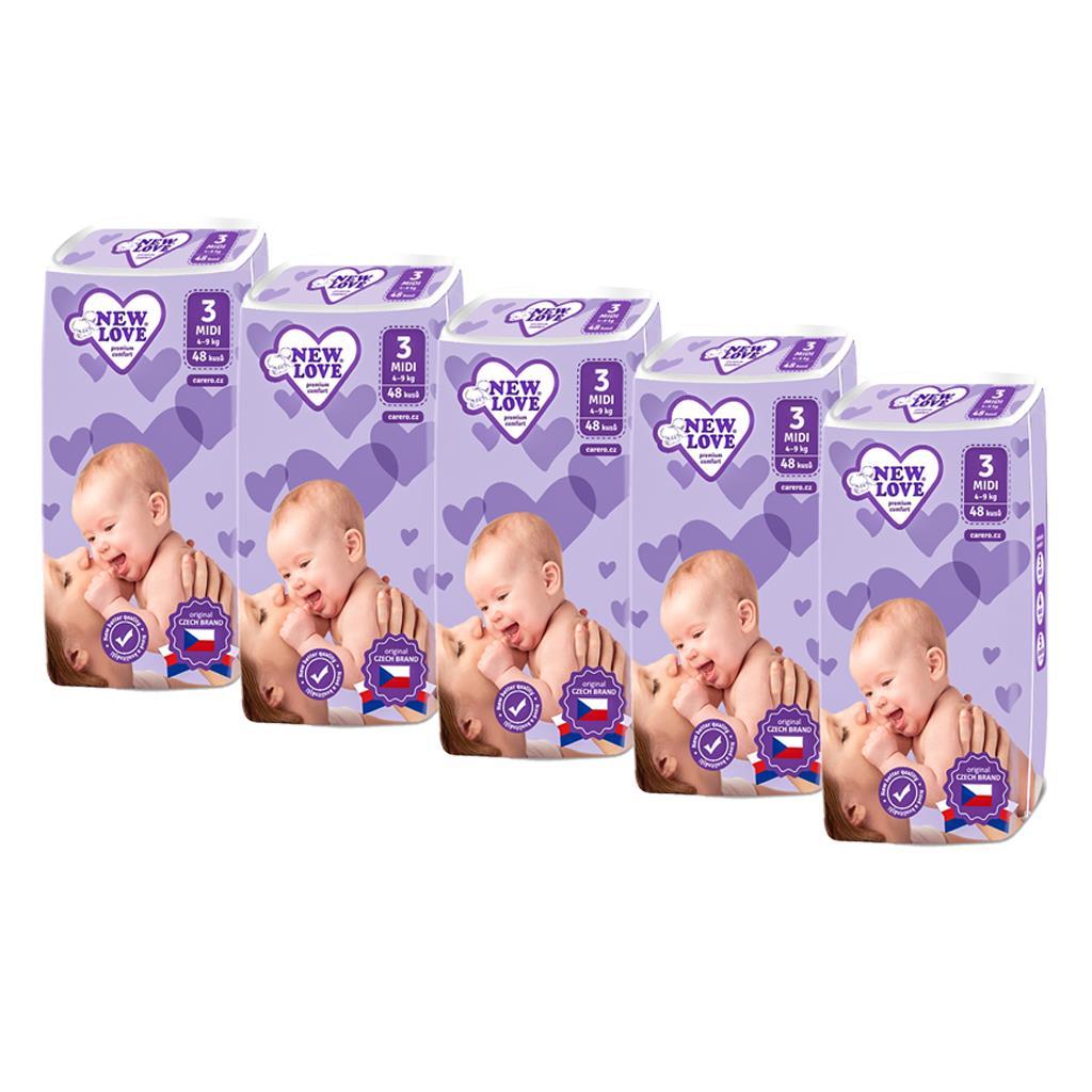 MEGAPACK Dětské jednorázové pleny New Love Premium comfort 3 MIDI 4-9 kg 5x48 ks - bílá