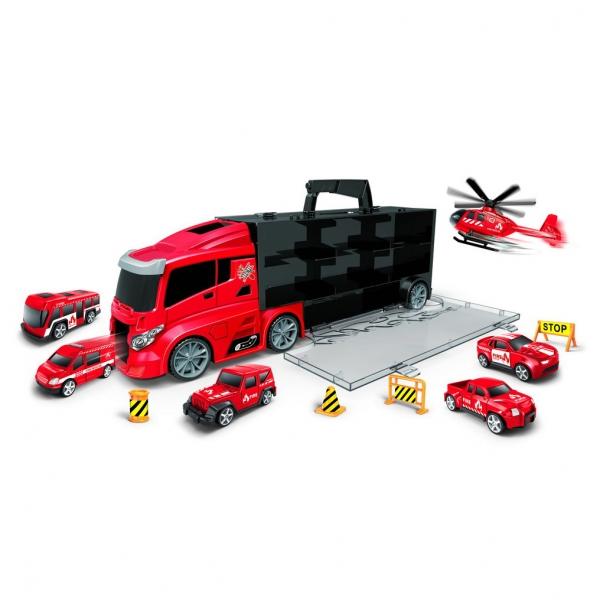 Auto hasiči v kufru 2v1 s dráhou