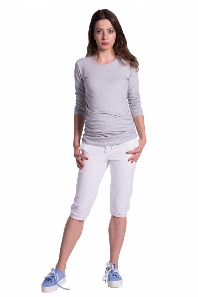 Moderní těhotenské 3/4 kalhoty s kapsami