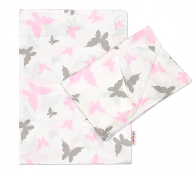 2-dílné bavlněné povlečení 135x100 cm, Motýlci - růžové - 135x100