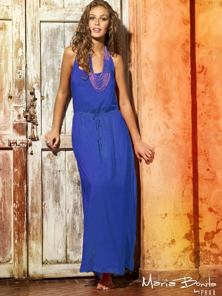 Dlouhé letní šaty na ramínka PHAX modré - M