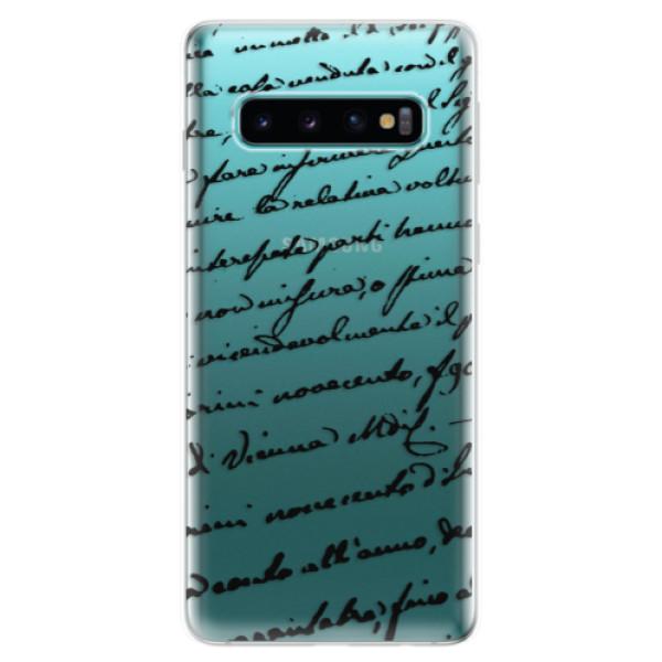 Odolné silikonové pouzdro iSaprio - Handwriting 01 - black - Samsung Galaxy S10