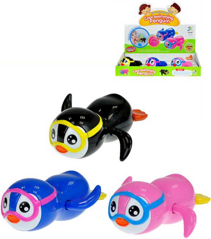 Tučňák s brýlemi 13 cm plavací na klíček do vody - 3 barvy
