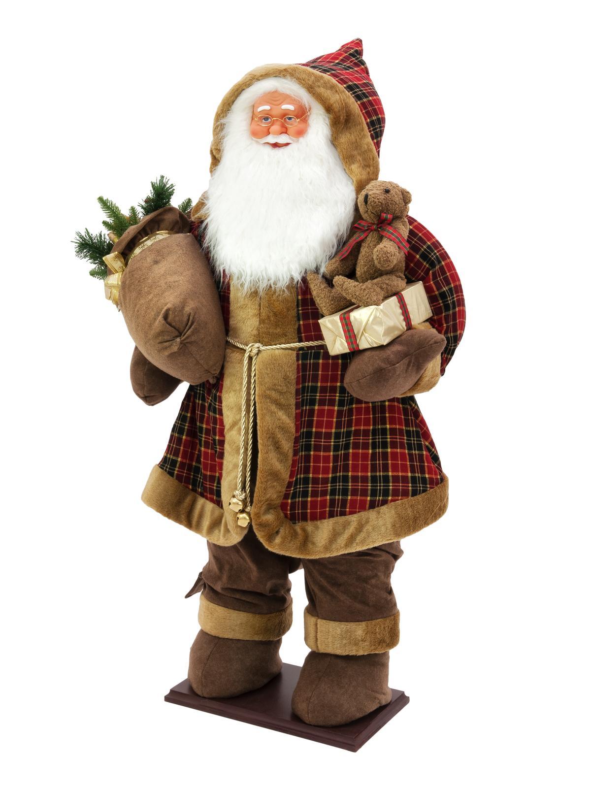 Santa nafukovací s bílými vousy, se zabudovanou pumpičkou, 160cm